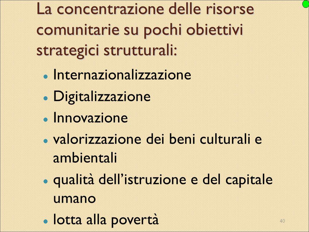 La concentrazione delle risorse comunitarie su pochi obiettivi strategici strutturali: