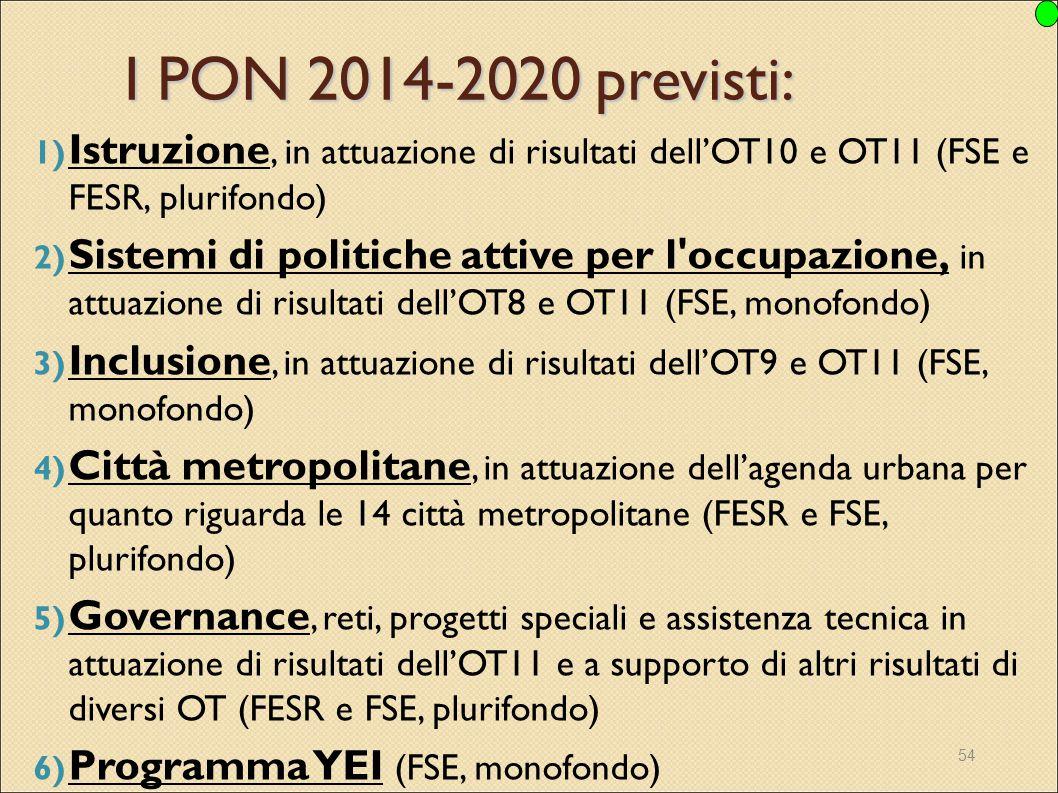 I PON 2014-2020 previsti: Istruzione, in attuazione di risultati dell'OT10 e OT11 (FSE e FESR, plurifondo)