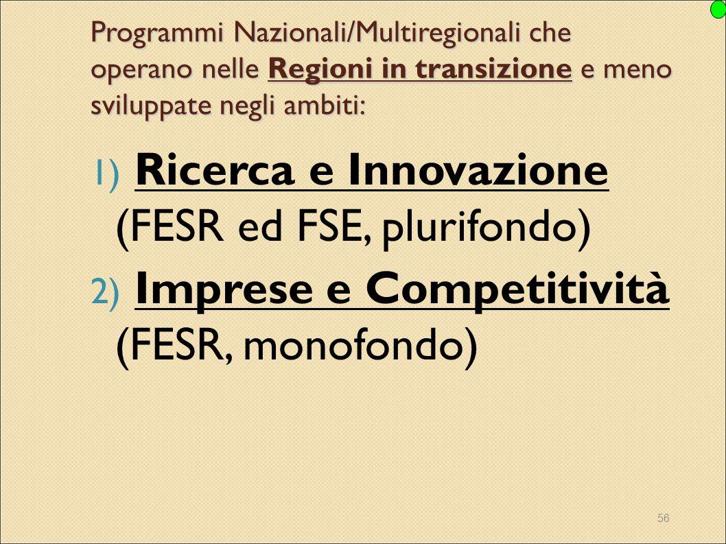 Ricerca e Innovazione (FESR ed FSE, plurifondo)