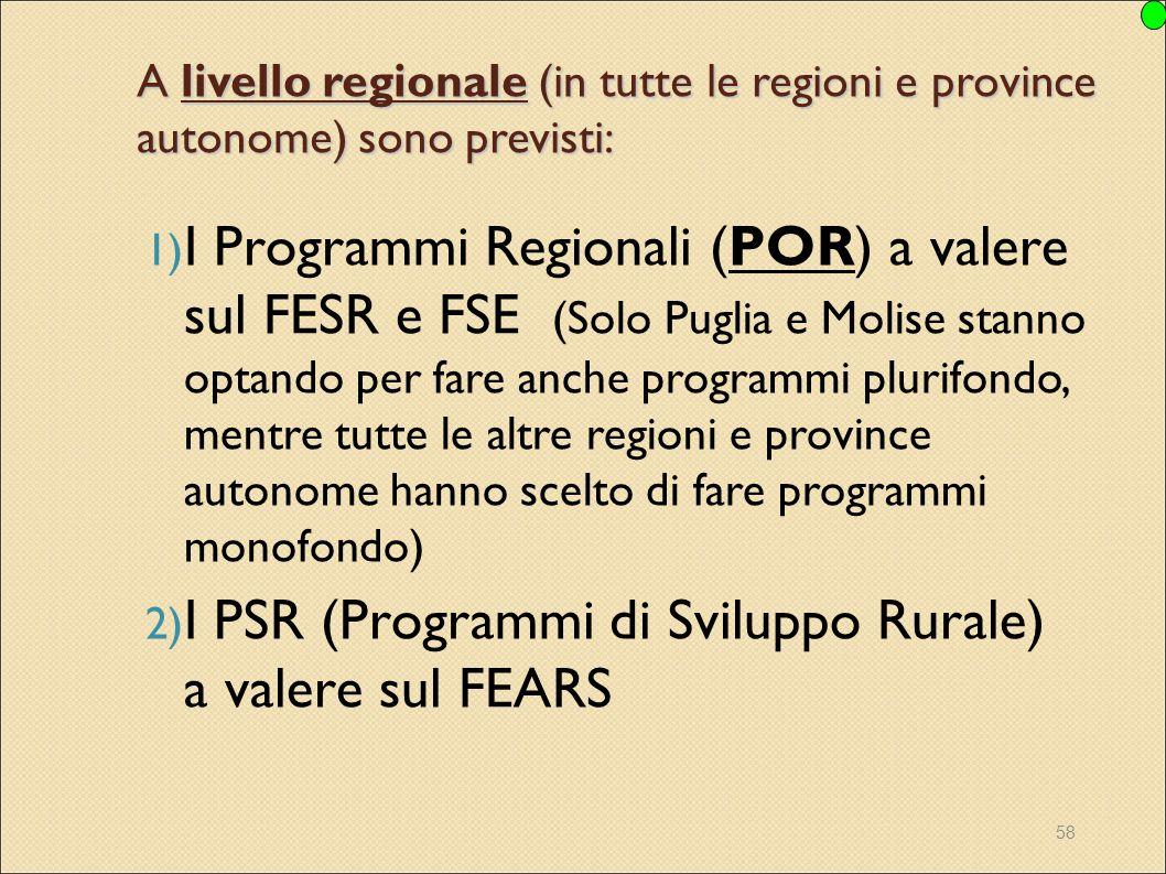 I PSR (Programmi di Sviluppo Rurale) a valere sul FEARS