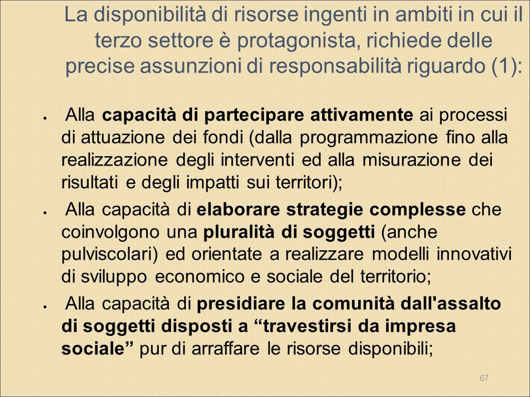 La disponibilità di risorse ingenti in ambiti in cui il terzo settore è protagonista, richiede delle precise assunzioni di responsabilità riguardo (1):