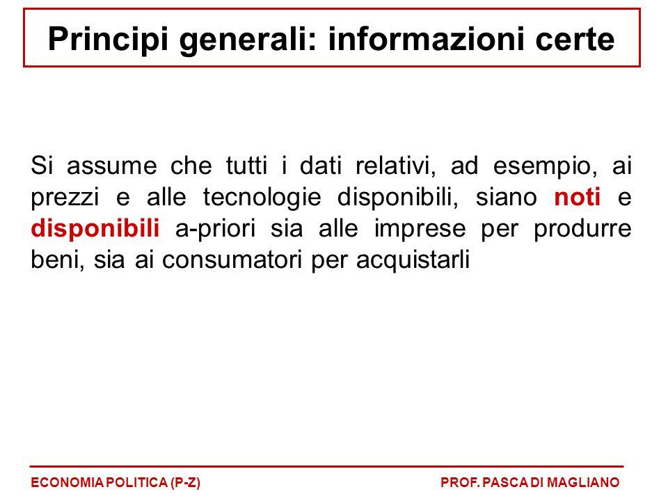 Principi generali: informazioni certe