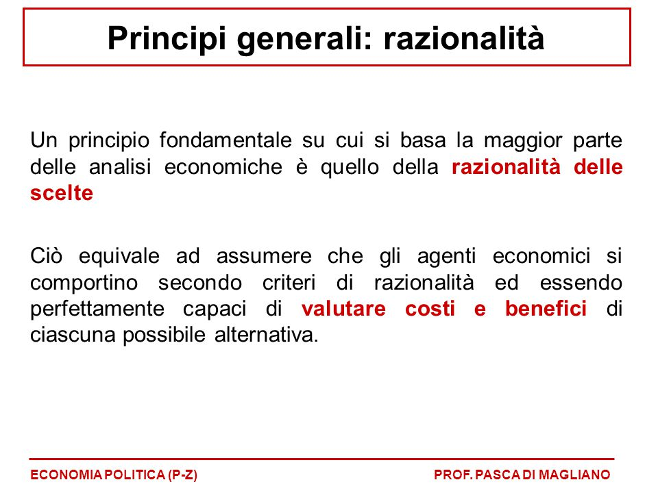 Principi generali: razionalità