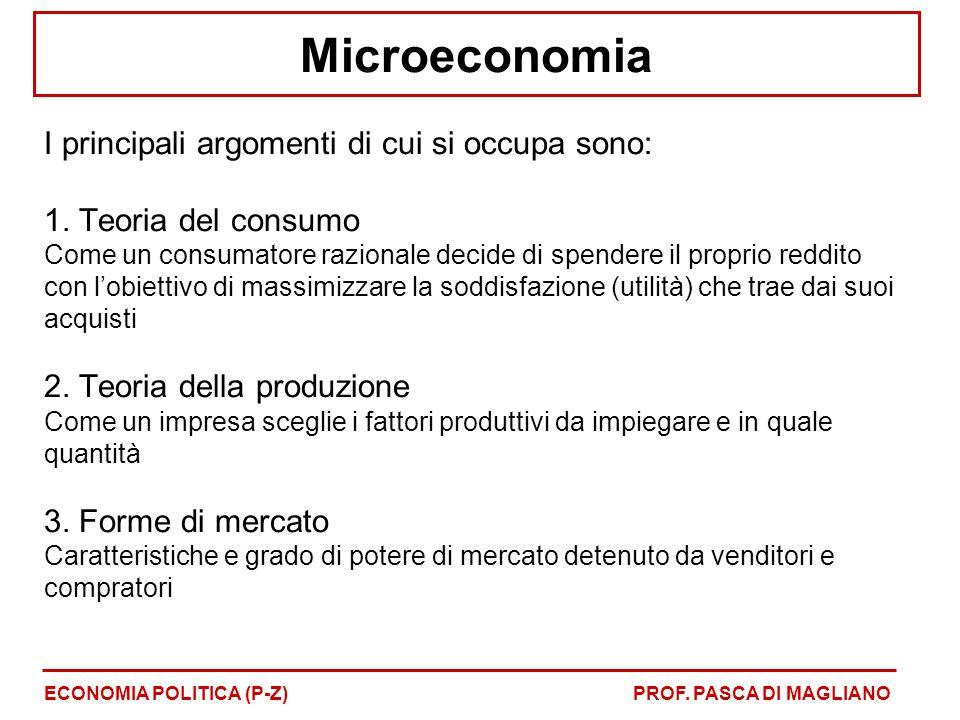 Microeconomia I principali argomenti di cui si occupa sono: