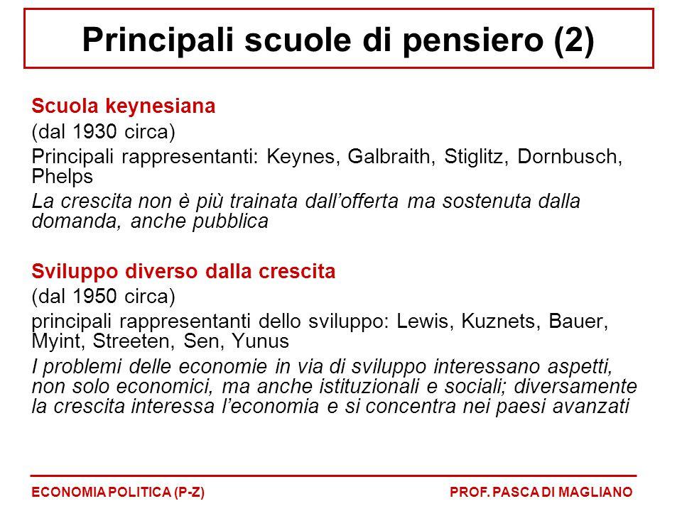 Principali scuole di pensiero (2)