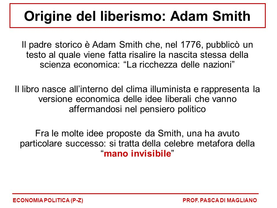 Origine del liberismo: Adam Smith