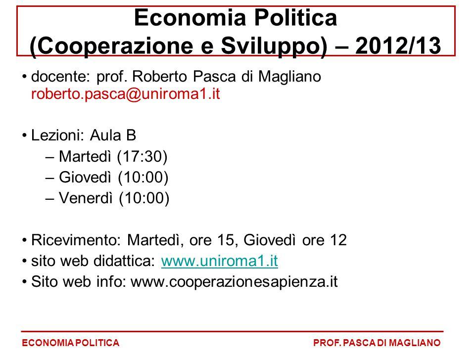 Economia Politica (Cooperazione e Sviluppo) – 2012/13