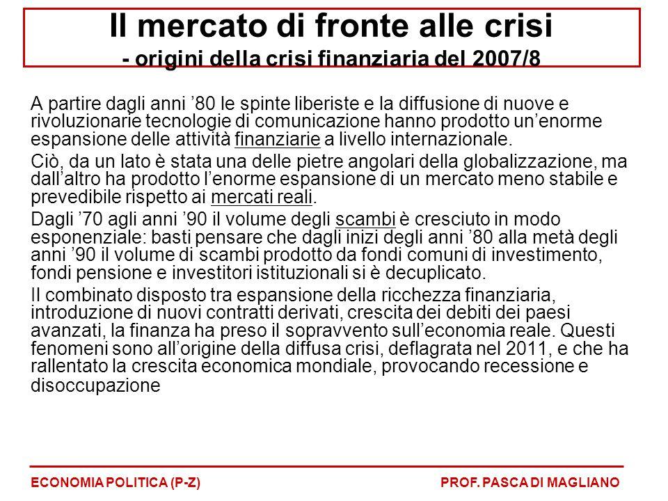 Il mercato di fronte alle crisi - origini della crisi finanziaria del 2007/8