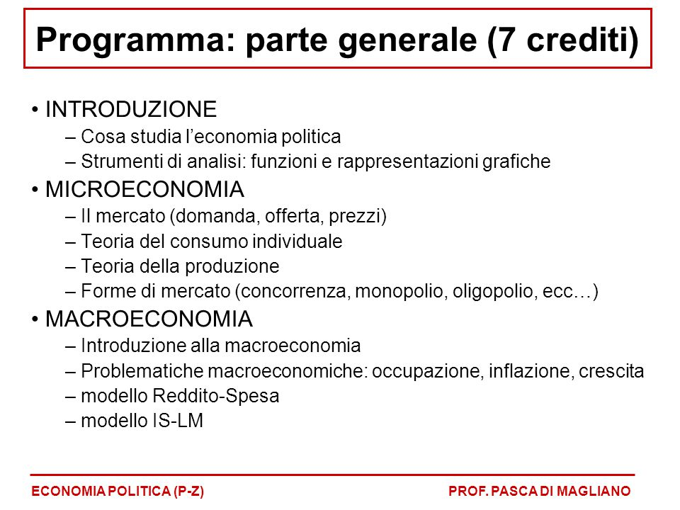 Programma: parte generale (7 crediti)