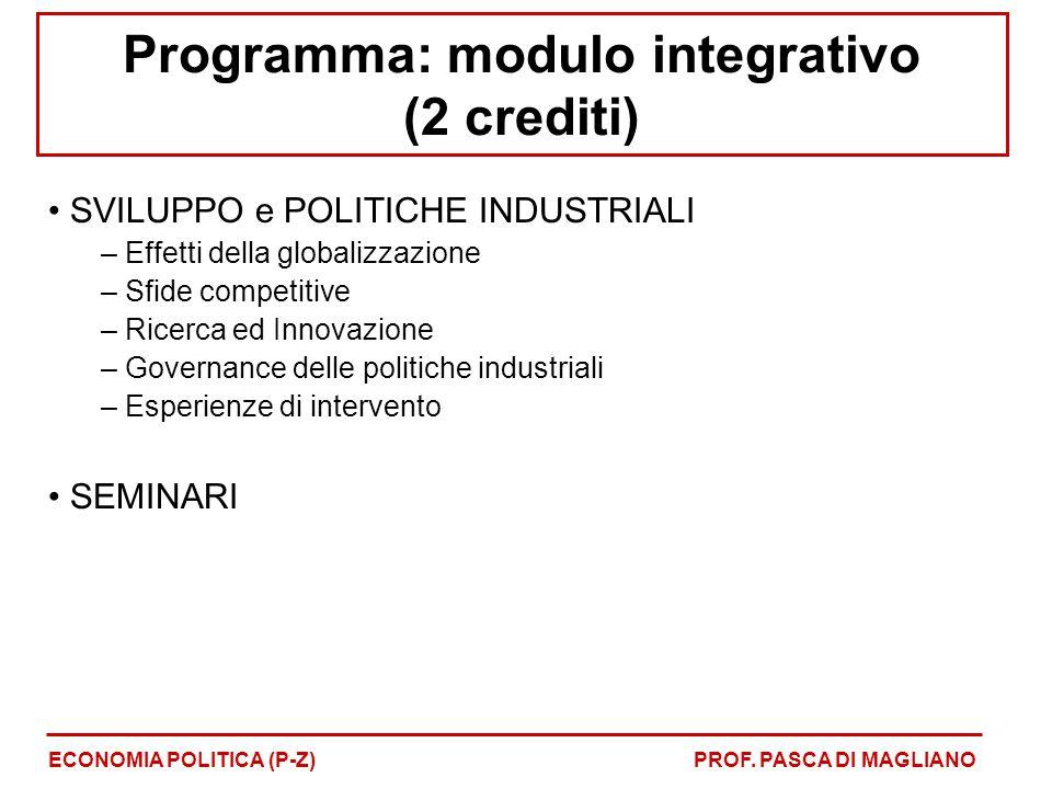Programma: modulo integrativo (2 crediti)