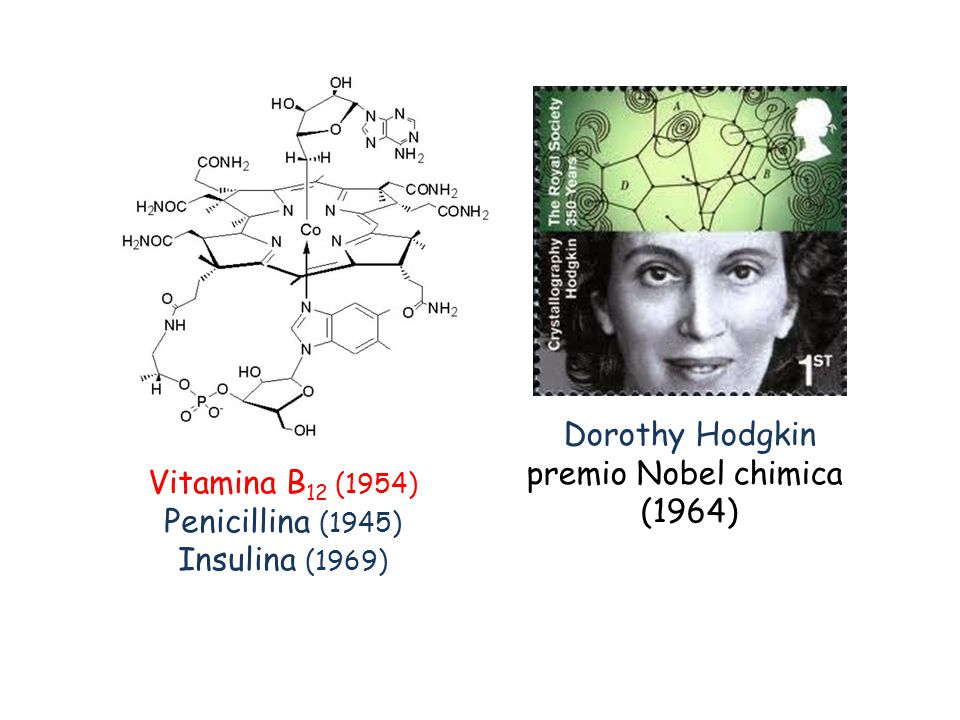 Dorothy Hodgkin premio Nobel chimica (1964) Vitamina B12 (1954) Penicillina (1945) Insulina (1969)
