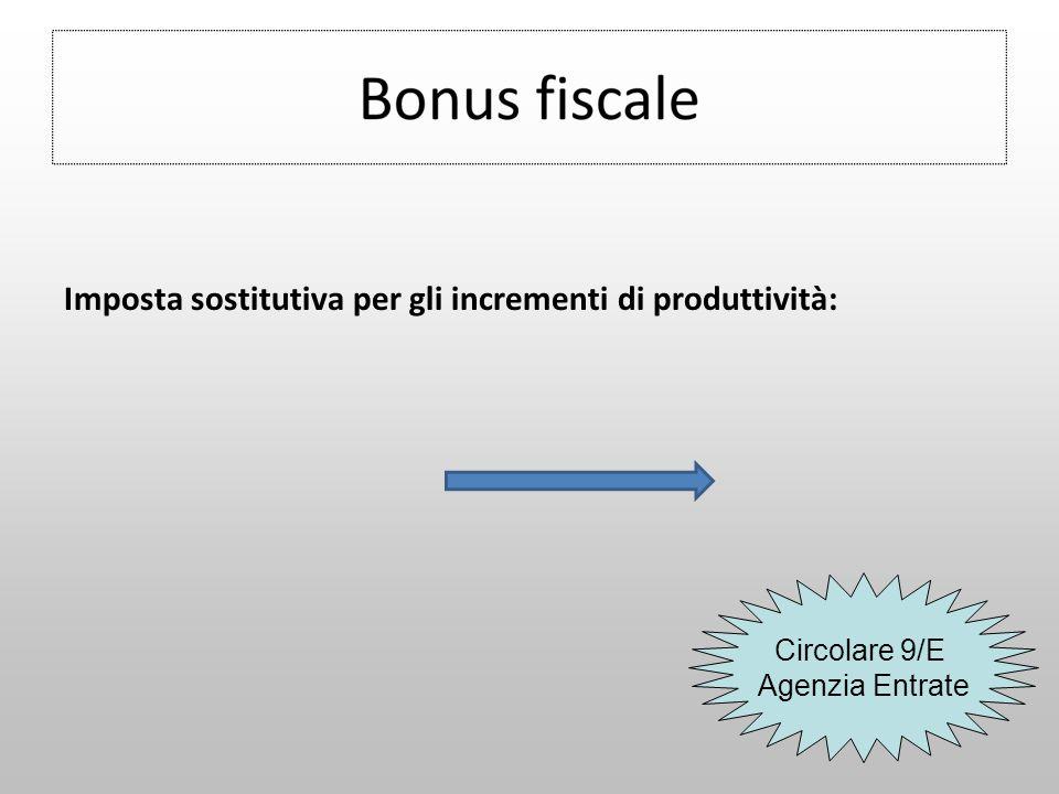 Imposta sostitutiva per gli incrementi di produttività: