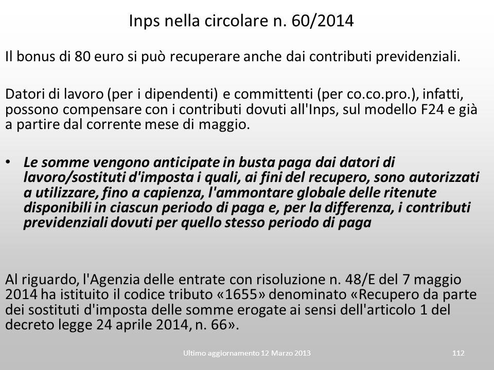 Inps nella circolare n. 60/2014