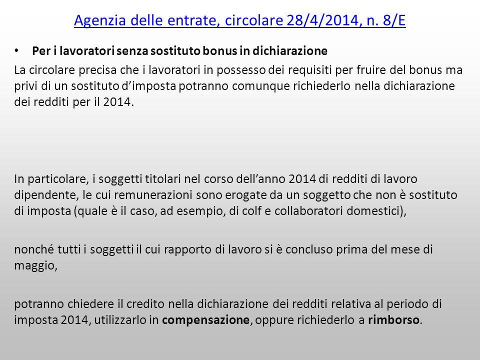 Agenzia delle entrate, circolare 28/4/2014, n. 8/E