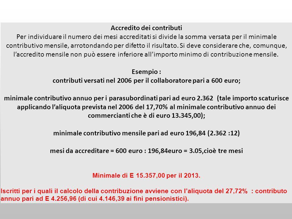 Accredito dei contributi