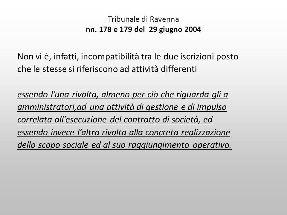 Tribunale di Ravenna nn. 178 e 179 del 29 giugno 2004