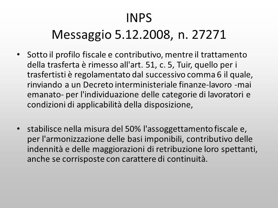 INPS Messaggio 5.12.2008, n. 27271