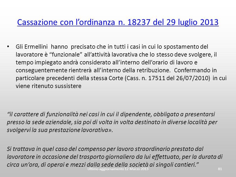Cassazione con l'ordinanza n. 18237 del 29 luglio 2013