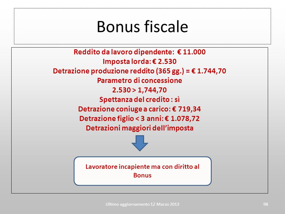 Reddito da lavoro dipendente: € 11.000 Imposta lorda: € 2.530