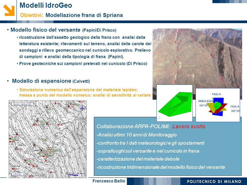 Modelli IdroGeo Obiettivi: Modellazione frana di Spriana