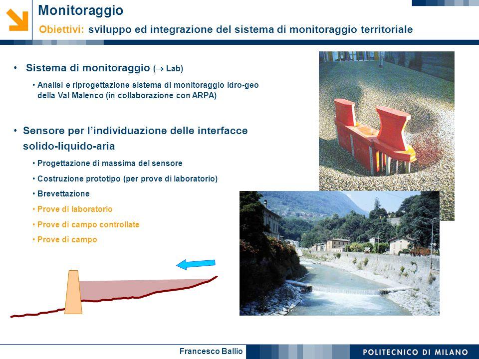 Monitoraggio Obiettivi: sviluppo ed integrazione del sistema di monitoraggio territoriale. Sistema di monitoraggio ( Lab)