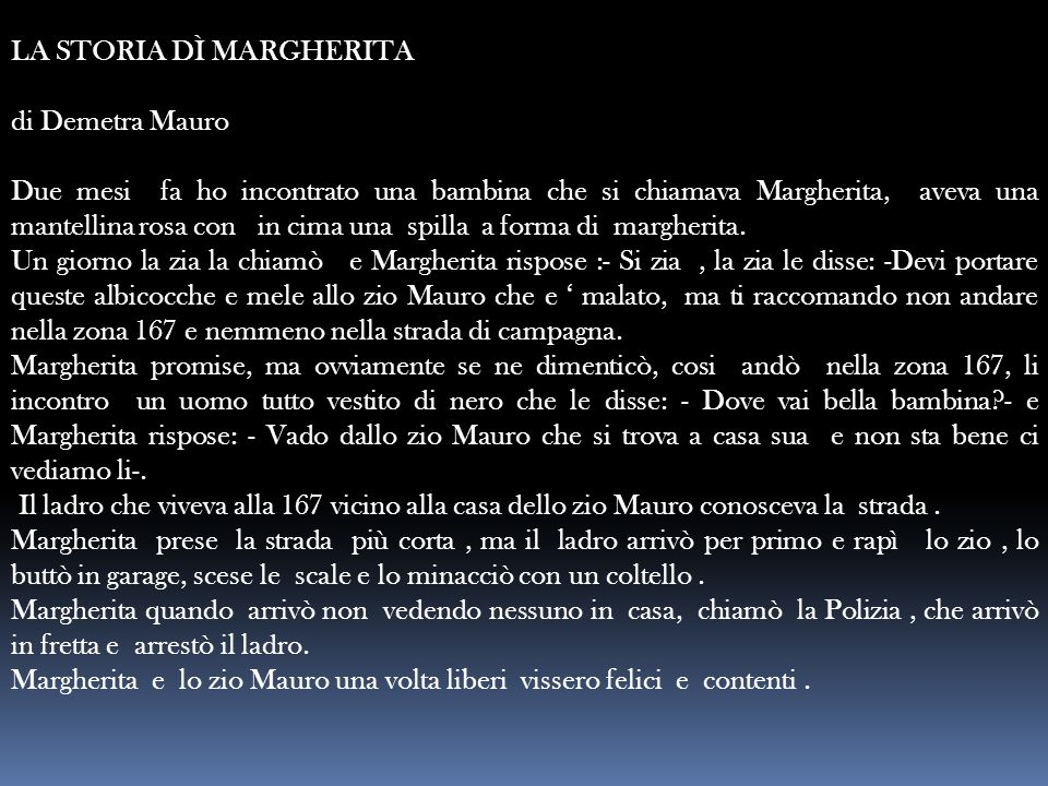 LA STORIA DÌ MARGHERITA