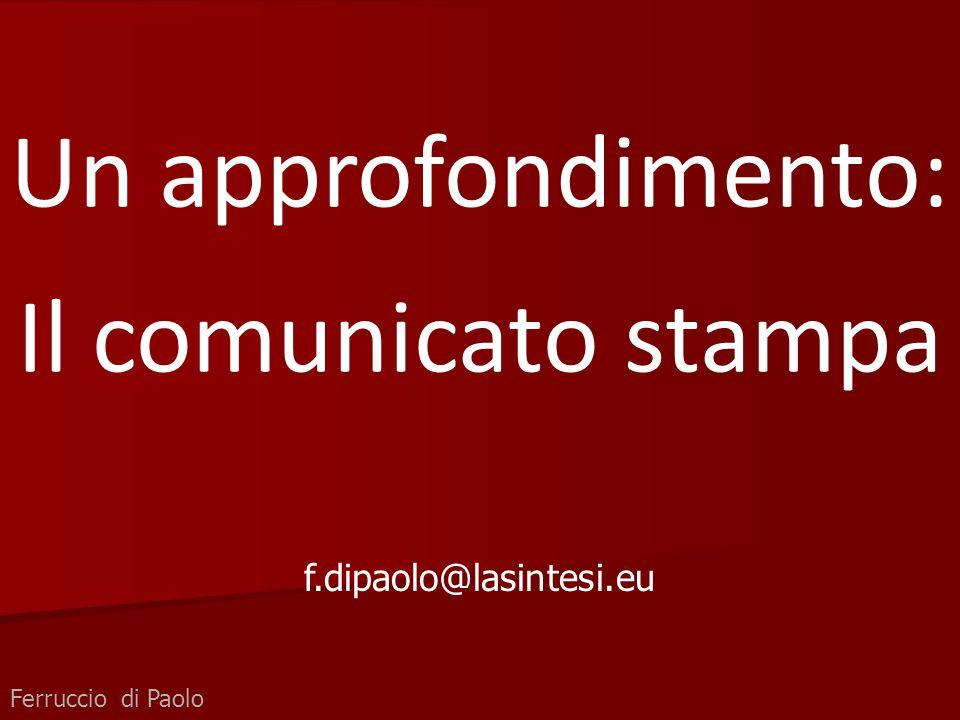 Un approfondimento: Il comunicato stampa f.dipaolo@lasintesi.eu