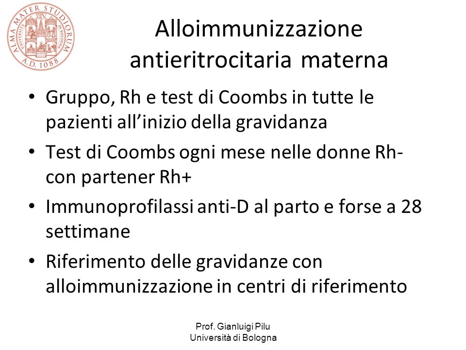 Alloimmunizzazione antieritrocitaria materna