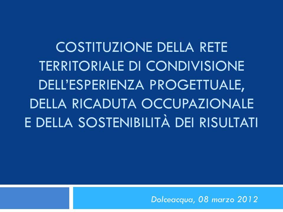 Costituzione della Rete Territoriale di condivisione dell'esperienza progettuale, della ricaduta occupazionale e della sostenibilità dei risultati