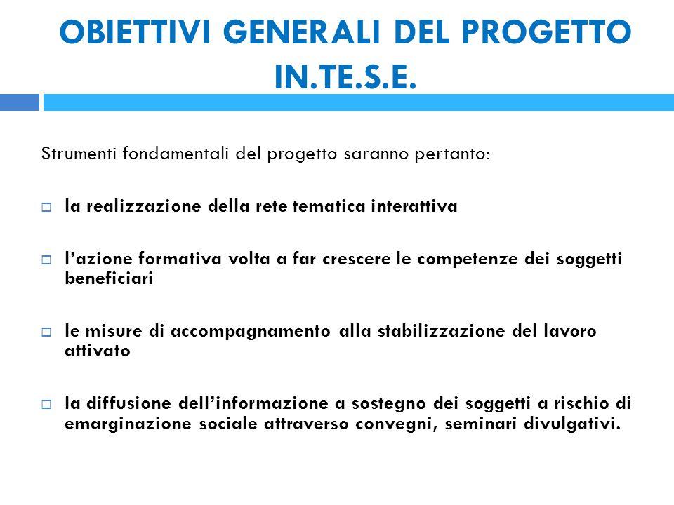 OBIETTIVI GENERALI DEL PROGETTO IN.TE.S.E.
