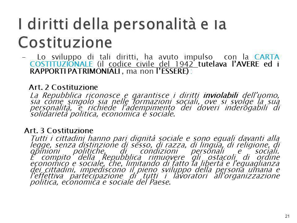 I diritti della personalità e la Costituzione