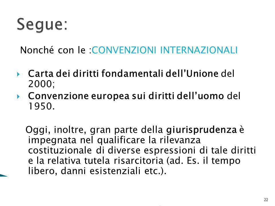 Segue: Nonché con le :CONVENZIONI INTERNAZIONALI
