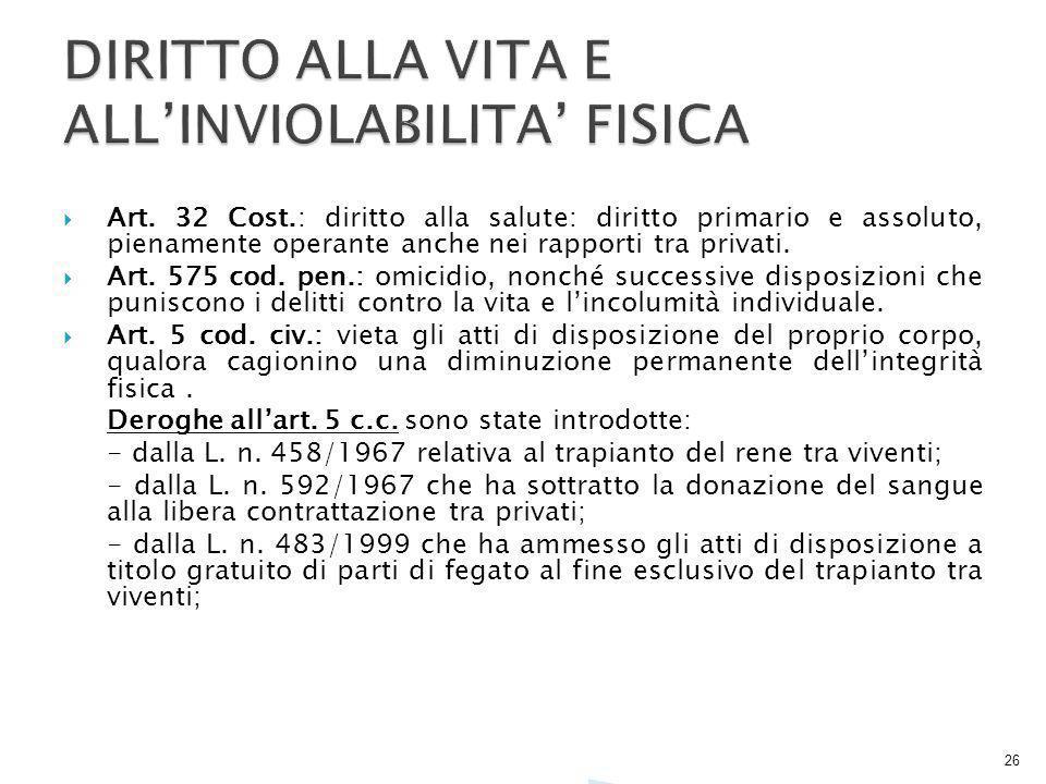 DIRITTO ALLA VITA E ALL'INVIOLABILITA' FISICA