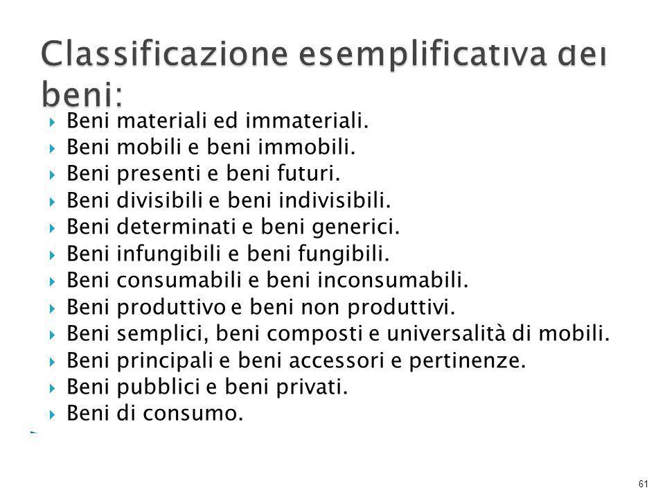 Classificazione esemplificativa dei beni: