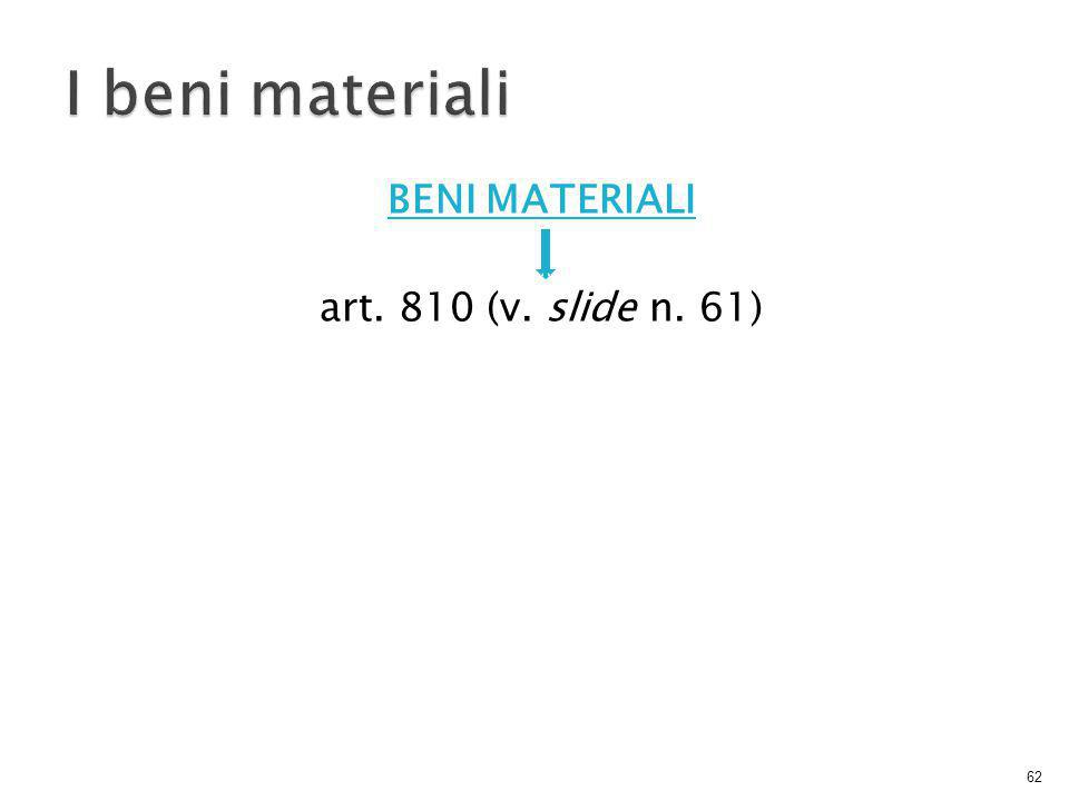 BENI MATERIALI art. 810 (v. slide n. 61)