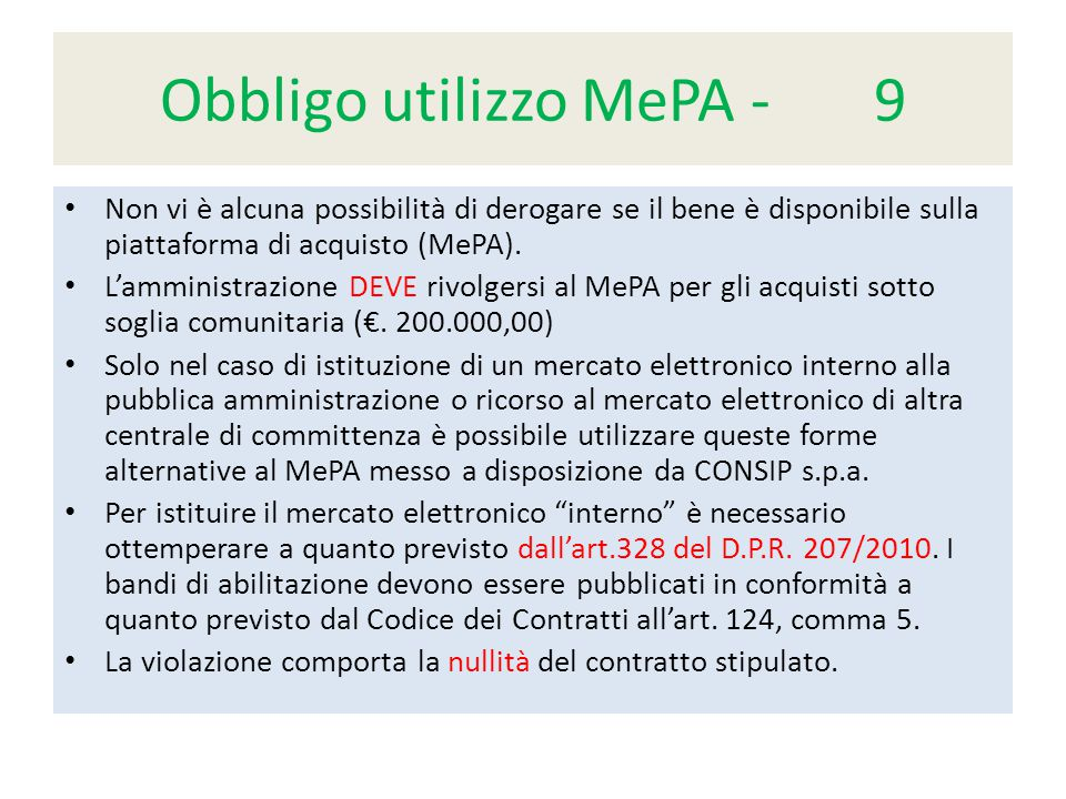 Obbligo utilizzo MePA - 9