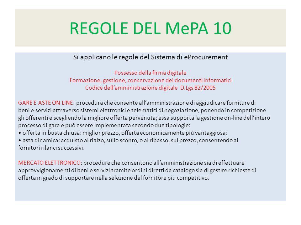 REGOLE DEL MePA 10 Si applicano le regole del Sistema di eProcurement