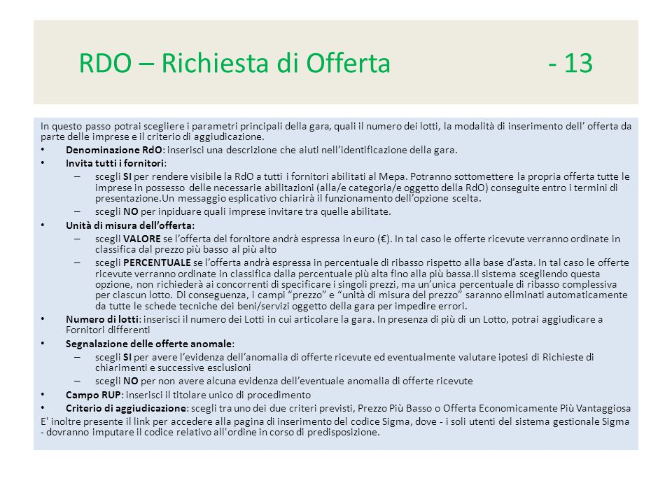 RDO – Richiesta di Offerta - 13