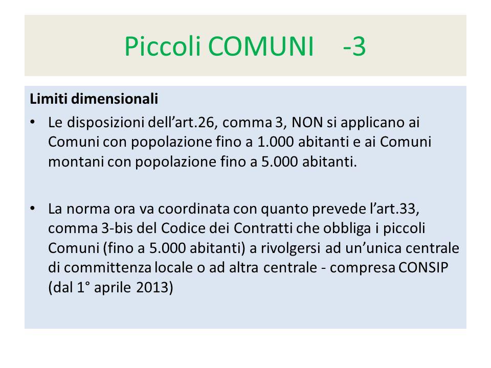 Piccoli COMUNI -3 Limiti dimensionali