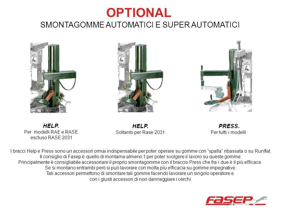 OPTIONAL SMONTAGOMME AUTOMATICI E SUPER AUTOMATICI HELP. HELP. PRESS.