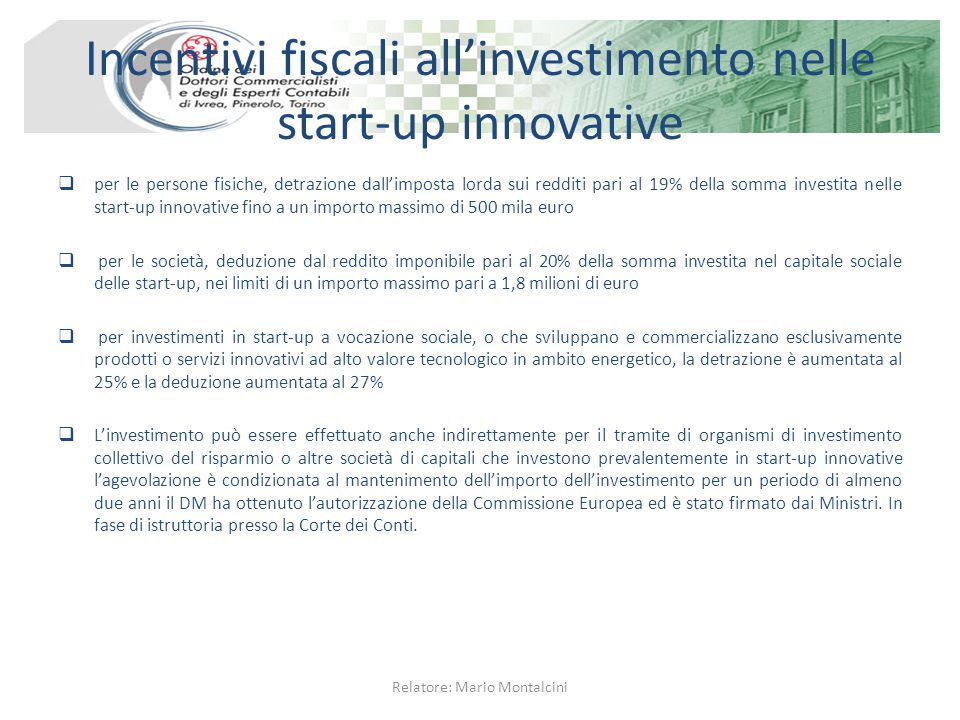Incentivi fiscali all'investimento nelle start-up innovative