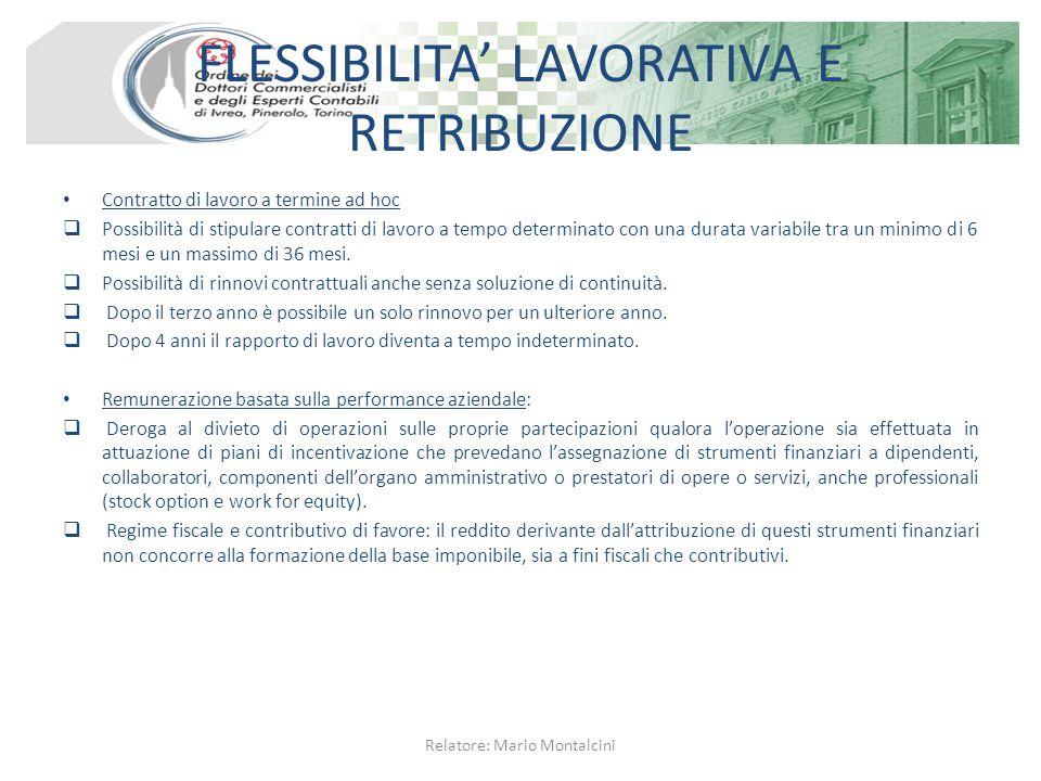 FLESSIBILITA' LAVORATIVA E RETRIBUZIONE