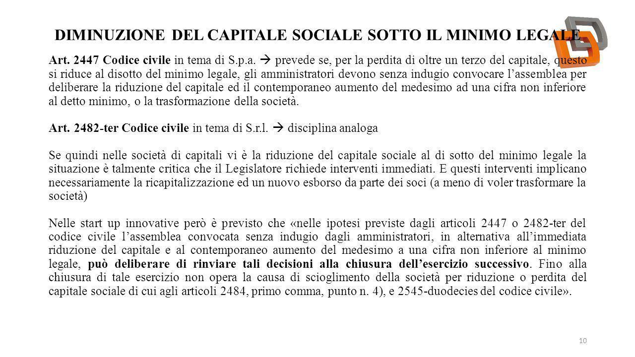 Diminuzione del capitale sociale sotto il minimo legale