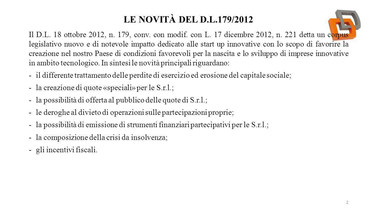 LE NOVITÀ DEL D.L.179/2012