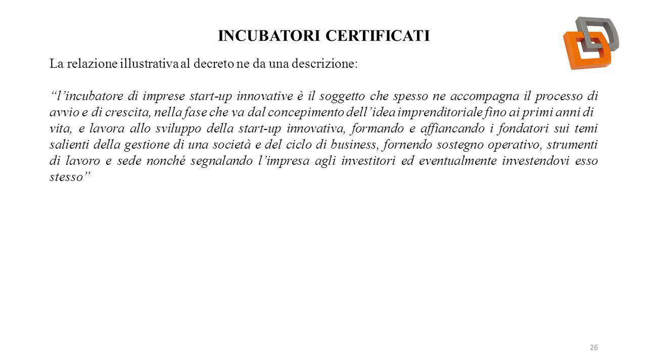 Incubatori certificati