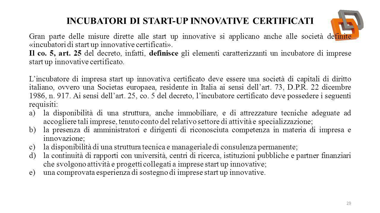 Incubatori DI START-UP INNOVATIVE certificati