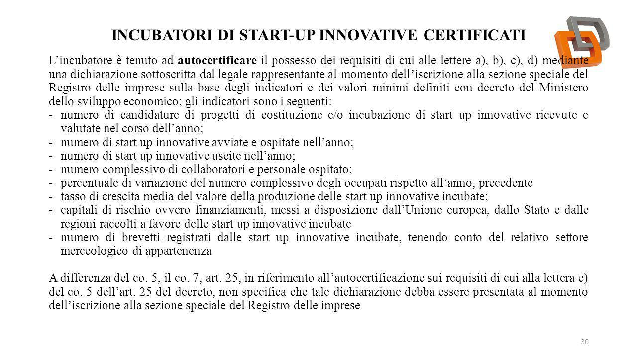 Incubatori DI START-UP INNOVATIVE certificati