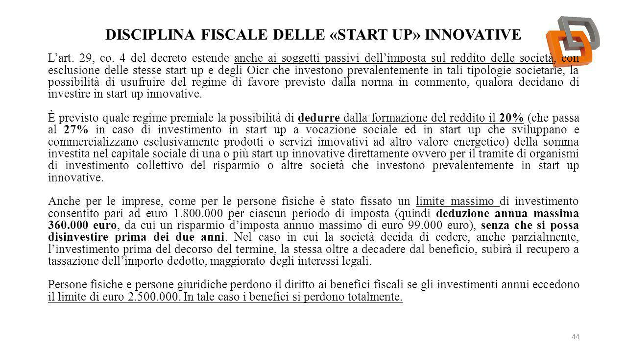 Disciplina fiscale delle «start up» innovative