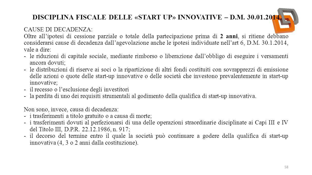 Disciplina fiscale delle «start up» innovative – d.m. 30.01.2014
