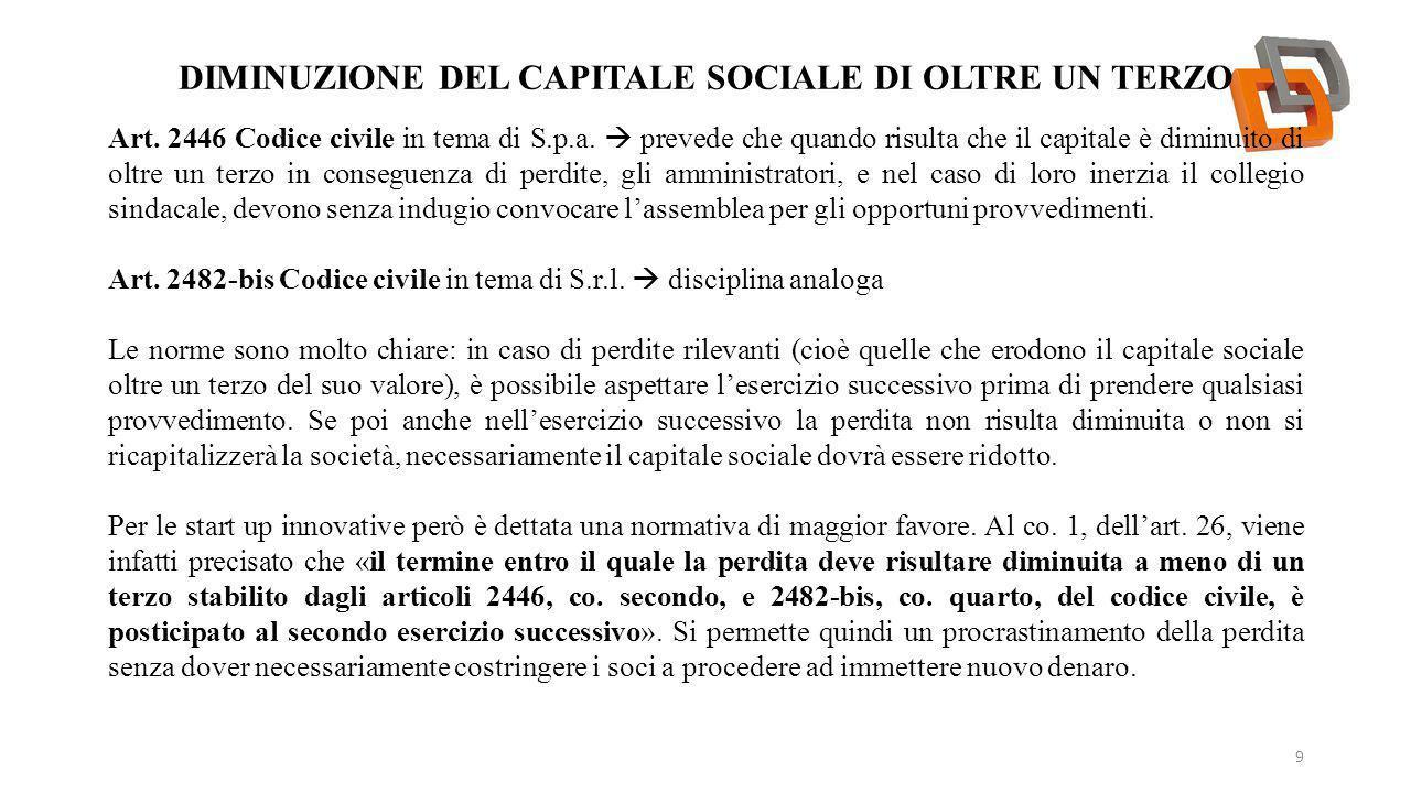 Diminuzione del capitale sociale di oltre un terzo
